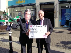 Michael Foster, MP for Hastings and Rye, with Denis Lucey (in Gordon Brown Mask)