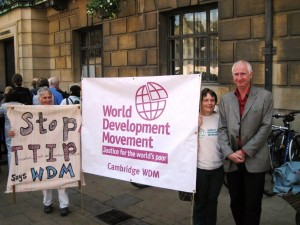 Daniel Zeichner with group banner (& Clare Baker), anti-TTIP demo, Cambridge Guildhall, 12 July 2014