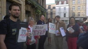 Campaigning outside Cambridge Guildhall for @38_Degrees #noTTIP day of action