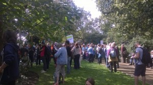 Before the London march.  Picture by Clare Baker