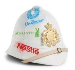 Monsanto, Unilever, Nestle ... names on a hat