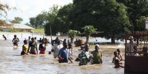 People in flood water