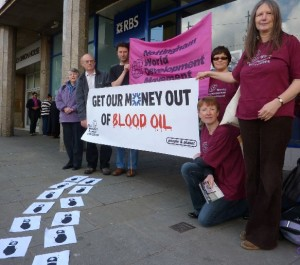 Group members outside RBS in the Market Square