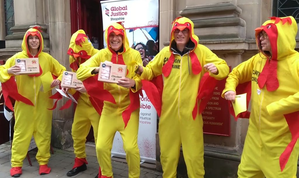 Global Justice Shropshire members dressed as 'chlorinated chickens' to protest against the US-UK trade deal